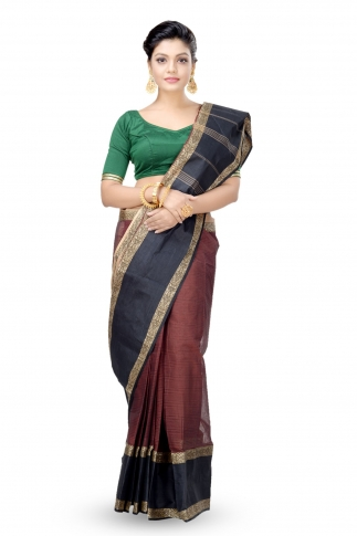 Rust Colour With Black Border Bengal Handwoven Tant Saree Without Blouse