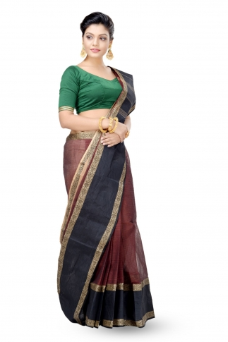 Rust Colour With Black Border Bengal Handwoven Tant Saree Without Blouse 1