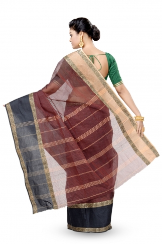 Rust Colour With Black Border Bengal Handwoven Tant Saree Without Blouse 2