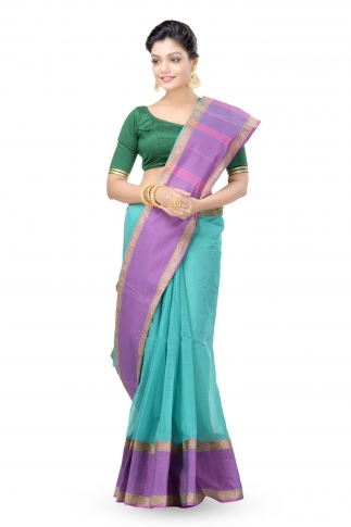 Multi Colour Bengal Handwoven Tant Saree Without Blouse