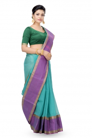 Multi Colour Bengal Handwoven Tant Saree Without Blouse 1