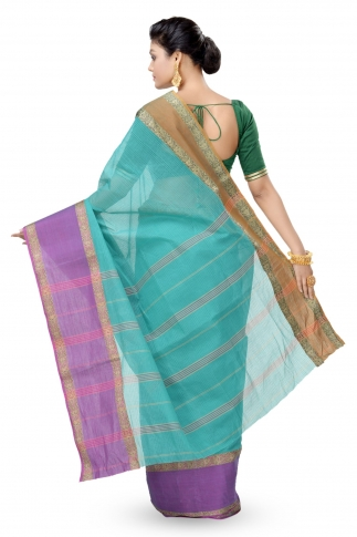 Multi Colour Bengal Handwoven Tant Saree Without Blouse 2