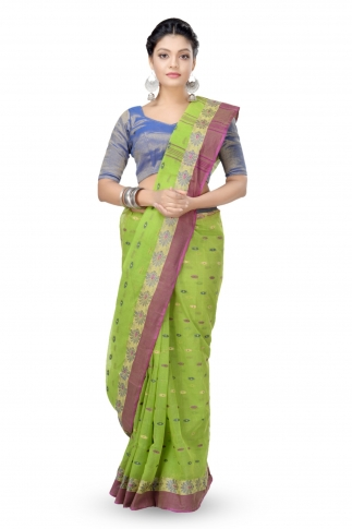 Parrot Green Colour Bengal Handwoven Tant Saree with Out Blouse
