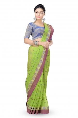 Parrot Green Colour Bengal Handwoven Tant Saree with Out Blouse 1