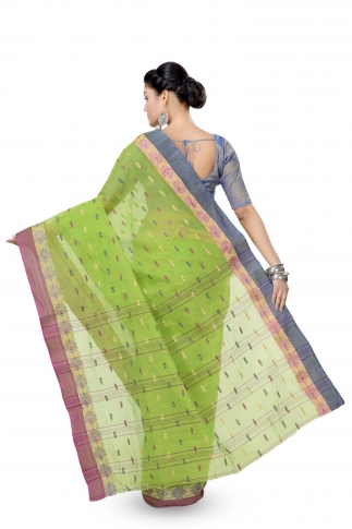 Parrot Green Colour Bengal Handwoven Tant Saree with Out Blouse 2