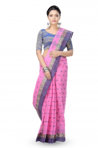 Pink With Blue Colour Border Bengal Handwoven Tant Saree With Out Blouse