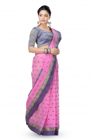 Pink With Blue Colour Border Bengal Handwoven Tant Saree With Out Blouse 1
