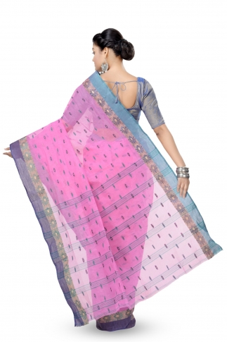 Pink With Blue Colour Border Bengal Handwoven Tant Saree With Out Blouse 2