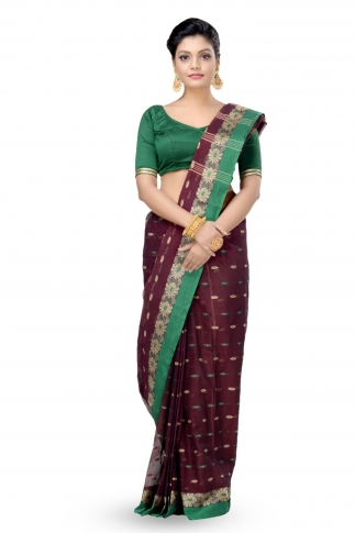 Dark Brown With Green Colour Border Bengal Handwoven Tant Saree With Out Blouse