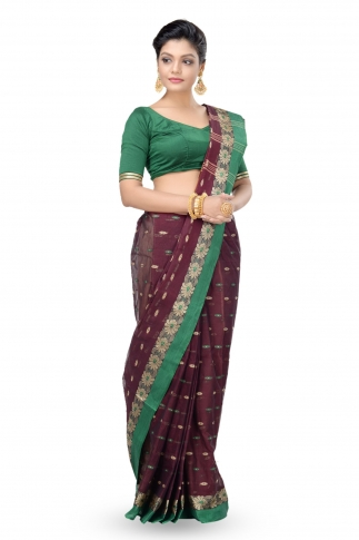 Dark Brown With Green Colour Border Bengal Handwoven Tant Saree With Out Blouse 1