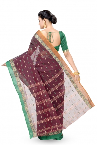 Dark Brown With Green Colour Border Bengal Handwoven Tant Saree With Out Blouse 2