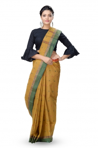 Mustered With Dark Green Colour Border Tant Saree With Out Blouse