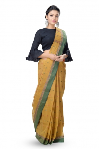 Mustered With Dark Green Colour Border Tant Saree With Out Blouse 1