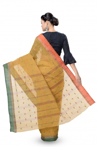 Mustered With Dark Green Colour Border Tant Saree With Out Blouse 2