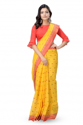 Yellow With Red Colour Border Bengal Handwoven Tant Saree With Out Blouse
