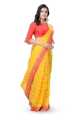 Yellow With Red Colour Border Bengal Handwoven Tant Saree With Out Blouse 1