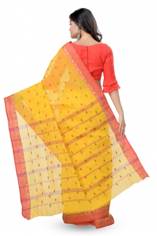 Yellow With Red Colour Border Bengal Handwoven Tant Saree With Out Blouse 2