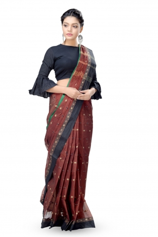 Dark Brown With Black Colour Border Bengal Handwoven Tant Saree Without Blouse