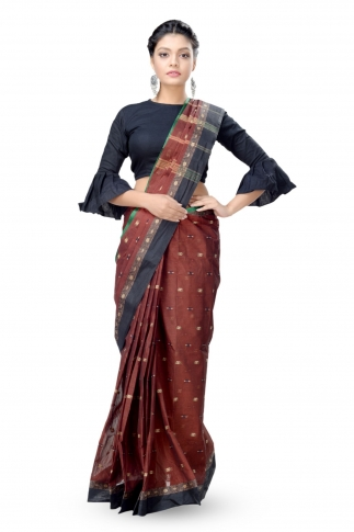 Dark Brown With Black Colour Border Bengal Handwoven Tant Saree Without Blouse 1