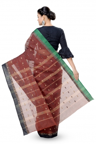 Dark Brown With Black Colour Border Bengal Handwoven Tant Saree Without Blouse 2