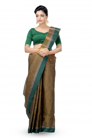 Shot Brown With Multicolour Border Bengal Handwoven Tant Saree Without Blouse
