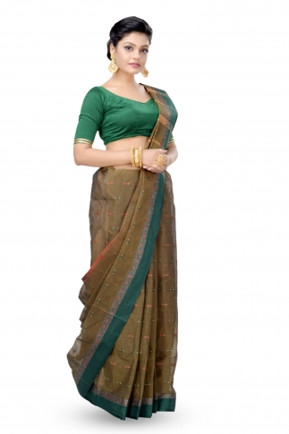 Shot Brown With Multicolour Border Bengal Handwoven Tant Saree Without Blouse 1