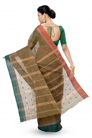 Shot Brown With Multicolour Border Bengal Handwoven Tant Saree Without Blouse 2