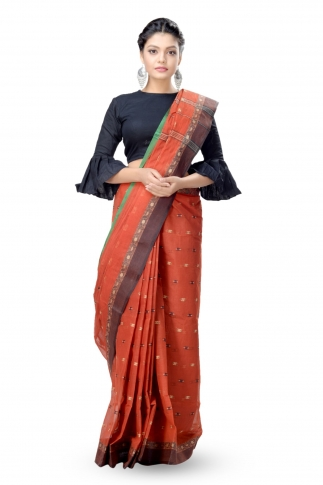 Rust With Multicolour Border Bengal Handwoven Tant Saree Without Blouse