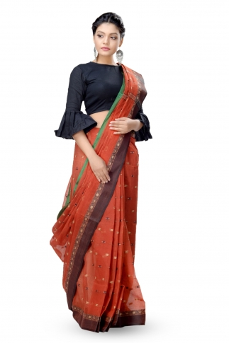 Rust With Multicolour Border Bengal Handwoven Tant Saree Without Blouse 1