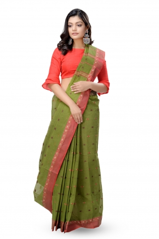 Olive Green Bengal Handwoven Tant Saree With Out Blouse