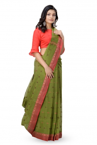 Olive Green Bengal Handwoven Tant Saree With Out Blouse 1