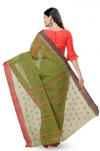 Olive Green Bengal Handwoven Tant Saree With Out Blouse 2