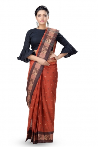 Rust With Multicolour Border Bengal Handwoven Tant Saree With Out Blouse