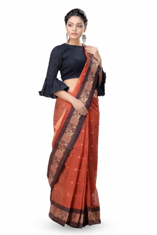 Rust With Multicolour Border Bengal Handwoven Tant Saree With Out Blouse 1