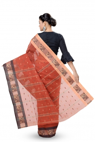 Rust With Multicolour Border Bengal Handwoven Tant Saree With Out Blouse 2