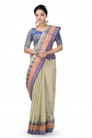 Soil Colour Bengal Handloom Tant Saree With Out Blouse