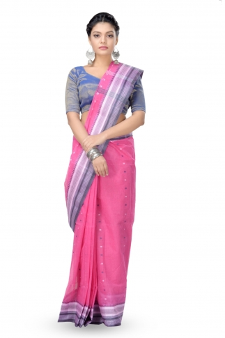 Pink With Blue Bengal Handwoven Tant Saree With Out Blouse