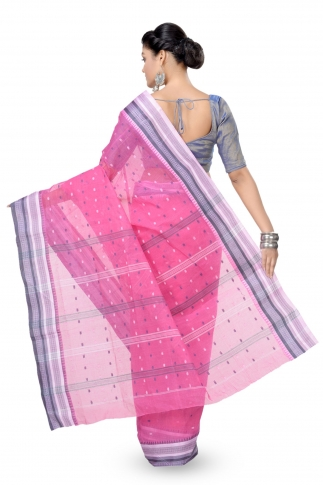 Pink With Blue Bengal Handwoven Tant Saree With Out Blouse 2