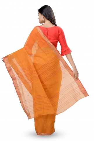 Mustered With Red & Golden Zari Work Border Bengal Handwoven Tant Saree Without Blouse 2