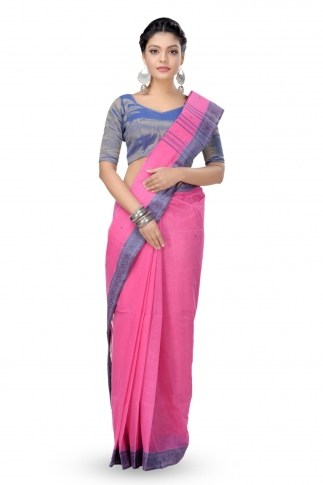 Pink With Blue Border Bengal Handwoven Tant Saree With Out Blouse