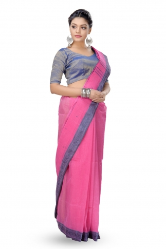 Pink With Blue Border Bengal Handwoven Tant Saree With Out Blouse 1