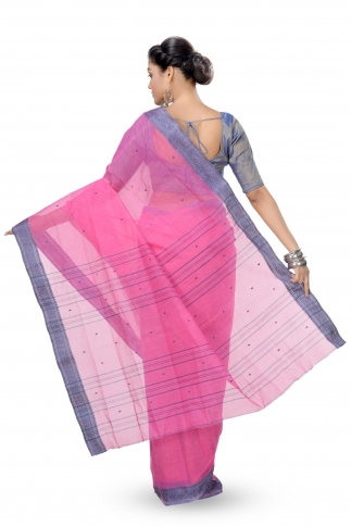 Pink With Blue Border Bengal Handwoven Tant Saree With Out Blouse 2