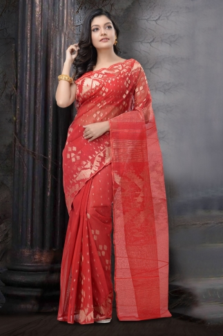Red Dhakai Jamdani Saree