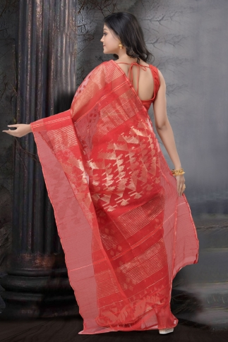 Red Dhakai Jamdani Saree 2