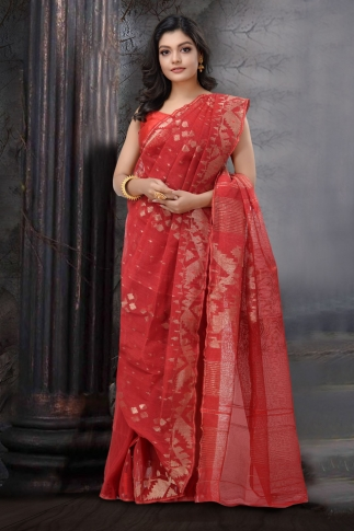 Red Dhakai Jamdani Saree 1