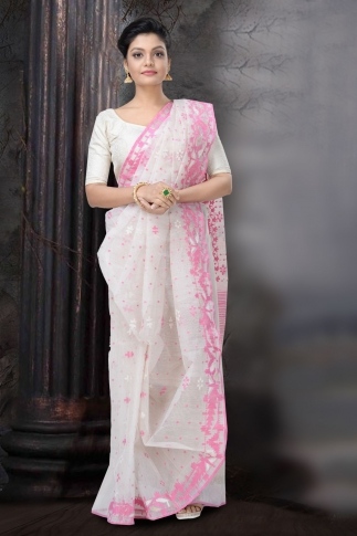 Pink and White Dhakai Jamdani Saree