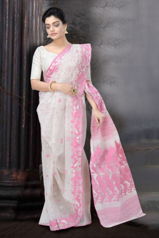 Pink and White Dhakai Jamdani Saree 1