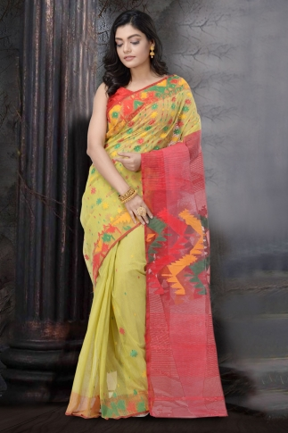 Yellow and Multi Dhakai Jamdani saree 1