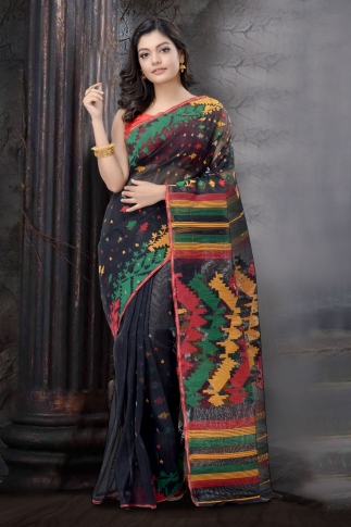 Black and Multi Dhakai jamdani Saree