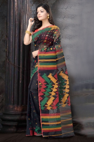 Black and Multi Dhakai jamdani Saree 1